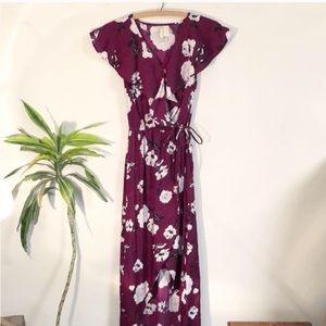 Japna Red Floral High Low Wrap Dress Medium